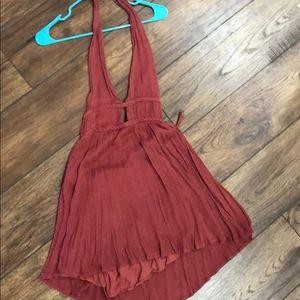 Illa Illa Orange Deep V Gauze Halter Dress